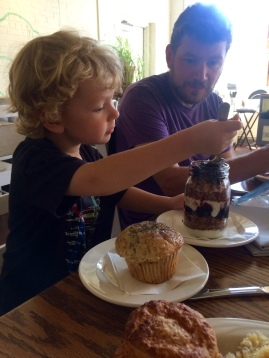 Lucky guy gets a muffin and yogurt parfait for brunch. It's good to be 3 1/2.